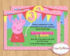 Convite Peppa Pig - Rosa