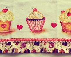 Pano de prato pintado a m�o: Cupcakes