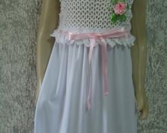vestido de tecido com corpo em croch�.