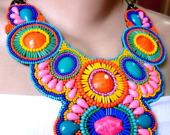 Maxi Colar Bordado Colors /Frete Gr�tis