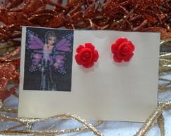 Brinco Rosa Vermelha(folheada)