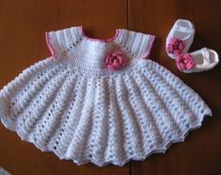 Conjunto Baby branco e rosa