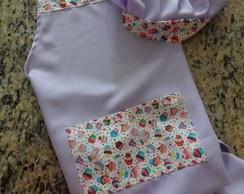 Kit Avental + touca para cozinha lil�s