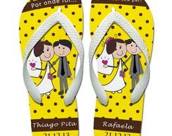 Chinelos p/ casamentos: Bolinhas Amarelo