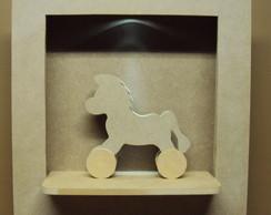 Quadro com led e cavalinho decorativo