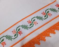 Pano de Copa - flor laranja (croch�)
