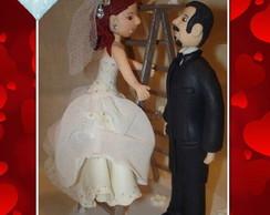Topo de Bolo Casal Noivos Personalizado