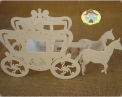 Carruagem em MDF com 2 cavalos - Branca