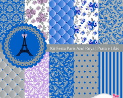 Festa Azul Royal Prata - Pap�is Digitais