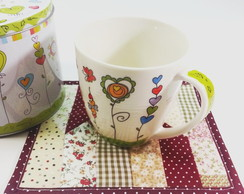 Kit Caneca + Mug Rug + Lata decorada