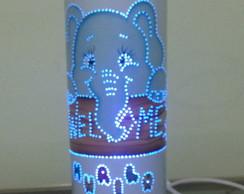 Lumin�ria Artesanal Elefantinho azul
