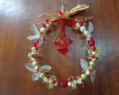 Guirlanda de Natal com anjo vermelho