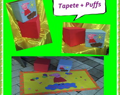 kit de Tapete + 2 puffs Peppa