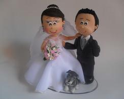 Topo de bolo Fofucho casal com cachorro