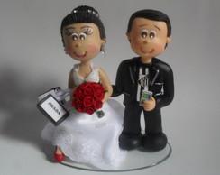 Topo de bolo Fofucho noiva com sacolas