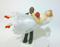 Topo de bolo casamento - noivinha no col