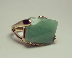 Anel Folhado Pedra Quartzo Verde