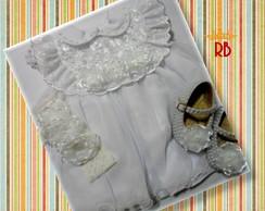 Conjunto Vestido Batizado Flor