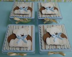 Caixa acr�lico 7x7 - Urso marrom e azul