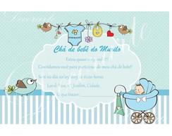 Convite 10x15 Cm Ch� de beb� menino
