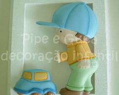 (DO 0013) Quadro decor menino carrinho