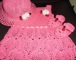 kit vestido+chap�u+sand�lia - croch�