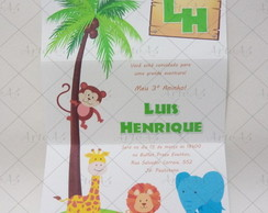 Convite Infantil �rvore Safari