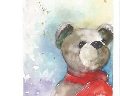 Aquarela - Urso xale vermelho