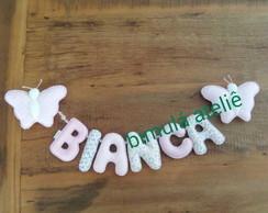 Varal de letras com borboletas