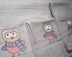 Kit 3 toalhas: Corujinha e nome