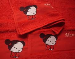 Kit 3 toalhas: Pucca e nome