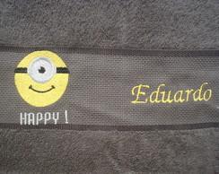 Toalha de lavabo Minion Happy com nome