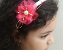 Tiara Sublime Flor Organza Rosa Cristal