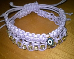 Duo Pulseiras Lil�s Olho Grego Strass