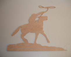 Aplique Cowboy com La�o - MDF 3mm