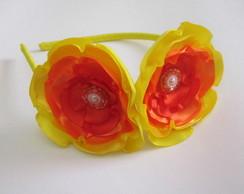 Tiara Flores Cetim Amarelo Laranja