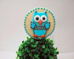 Bolacha decorada corujinha azul