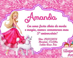 Convite Digital BARBIE Moda e Magia