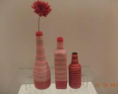 Trio de garrafas decorativas