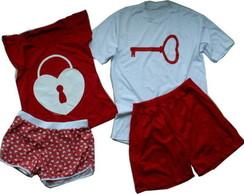 Kit Pijamas Cadeado e Chave