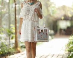 Bolsa La Loba 02C1 Branca Floral