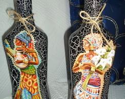 Garrafa em craquel� decorada Africanas