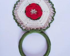 Porta pano de prato em croch� Flor