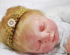 Headband baby dourado com la�o