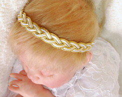 Headband branco c/ dourado
