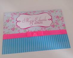 Convite de 15 anos Floral Rosa e Azul