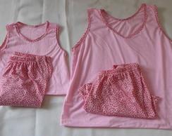 Pijama Curto M�e e Filha at� 1 ano