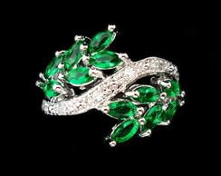Anel Prata e Verde