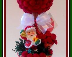 Topiaria de Flor bot�o C/ Papai Noel P.