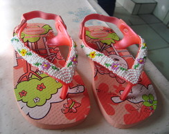 chinelo infantil bordado